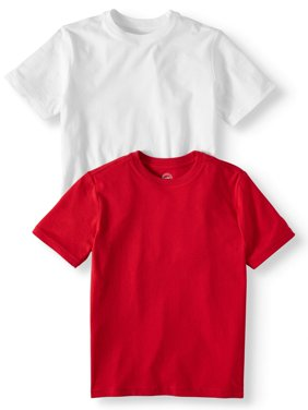 Short Sleeve Crew Neck Tee Shirt Value,2-Pack Set (Little Boys, Big Boys, & Husky)