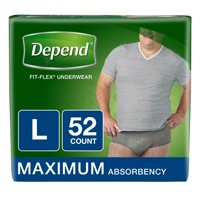 Depend FIT-FLEX Incontinence Underwear for Men, Maximum Absorbency, L, 52 Ct