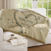 Personalized Heart in Sand Throw
