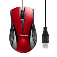 Insten USB Optical Scroll Wheel USB 2.0 Mouse, Red / Black