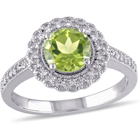 1-1/2 Carat T.G.W. Peridot and 1/7 Carat T.W. Diamond Sterling Silver Halo Cocktail Ring