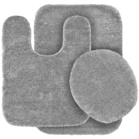 3 Pc SILVER Bathroom Set Bath Mat RUG, Contour, and Toilet Lid Cover, with Rubber Backing#6