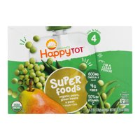 Happy Tot Super Foods Pouches Organic Pears, Green Beans & Peas + Super Chia, 4.22 OZ