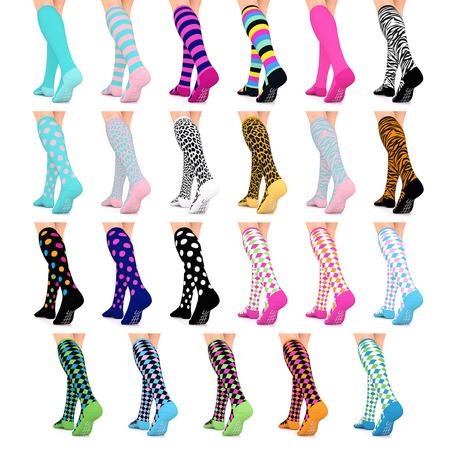 Go2 Fashion Compression Socks for Women 15-20 mmHg Athletic Running Socks for Nurses Travel Medical Graduated Nursing Compression Stocking Sport (Best Fox Compression Socks Runnings)