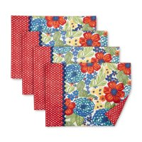 The Pioneer Woman Dazzling Dahlias Reversible Placemats, Set of 4, Multiple Counts