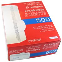 Top Flight PSTF10NWT #10 Envelopes, Strip & Seal, Security Tinted, White Paper, 24 lb, 500 Ct