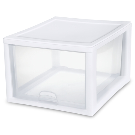 Sterilite 27 Qt./26 L Stacking Drawer, White (Available in a Case of 4 or Single - Buddy Products Single Drawer
