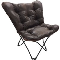 Mainstays Soft Faux-Leather Butterfly Chair - Brown
