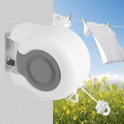 Tbest 13m Wall-Mounted Retractable Double Clothes Drying Line Indoor Outdoor Washing Landry Tool ,Clothes Line, Retractable Clothes Line