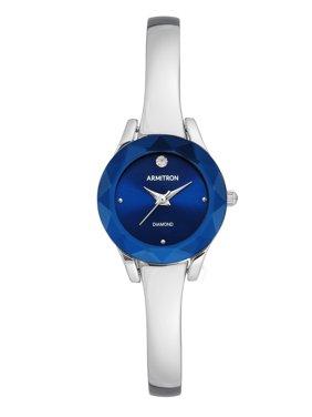 Armitron Women's Round Silver Bangle Blue Face Dress Watch