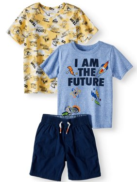 Graphic T-Shirt, Print T-Shirt, & French Terry Shorts, 3pc Outfit Set (Toddler Boys)