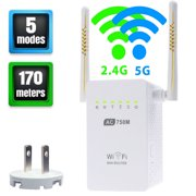Wifi Range Extender,  AC750 750 Mbps Wifi Repeater Signal Booster Amplifier Dual Band 2.4GHz/5GHz with Ethernet Port Antenna 802.11 ac/b/g/n AP/Router/Repeater Mode Full Coverage