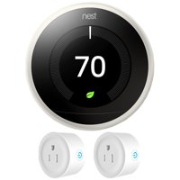 Nest (T3017US) Learning Thermostat 3rd Generation, White + Deco Gear 2 Pack Wifi Smart Plug