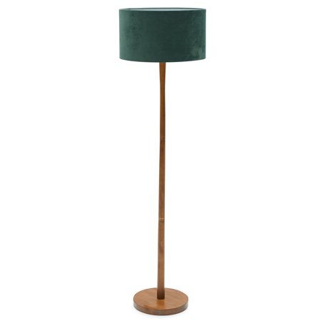 Wood Floor Lamp with Green Velvet Shade by Drew Barrymore Flower (Lamp 14 High Green Shade)
