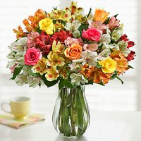 1-800-Flowers: Fresh Flowers - Assorted Roses & Peruvian Lilies with Clear Vase
