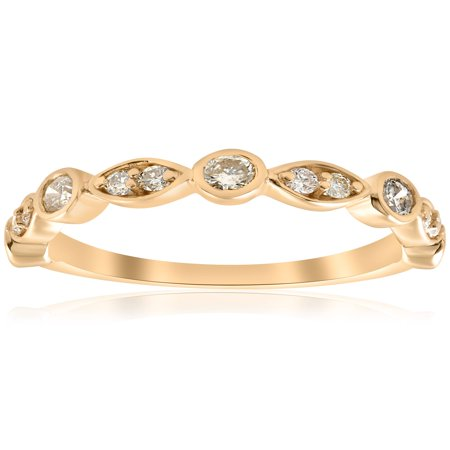 1/2ct Diamond Wedding Ring 14k Yellow Gold Stackable Bezel 3/4 Eternity (Bezel 14k White Gold Band)