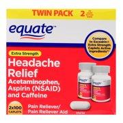 Equate Headache Relief, Acetaminophen, Aspirin & Caffeine, Extra Strength, Twin Pack, 200 Caplets