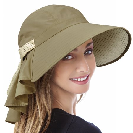 - Tirrinia Ladies Wide Brim Sun Flap Cover Cap Adjustable Beach Gardening Hat