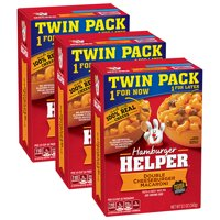(3 Pack) Betty Crocker Hamburger Helper, Double Cheeseburger Macaroni Hamburger Helper, 12.1 Oz Box (Twin Pack)