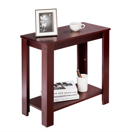 Costway Chair Side Table Coffee Sofa Wooden End Shelf Living Room Furniture (Height Of End Table Next To Couch)