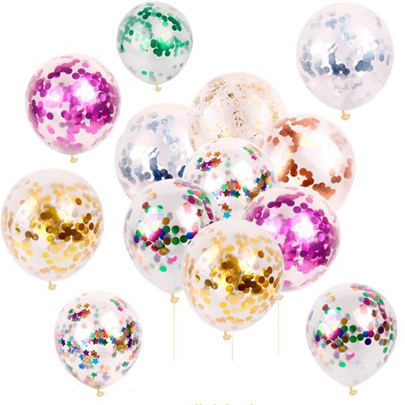 12 Inch Latex Confetti Balloons Clear Gold Silver Sequin Balloon Wedding Xmas 1st Birthday Baby Shower Party Decoration, 5/10/20pcs (1st Birthday Party City)