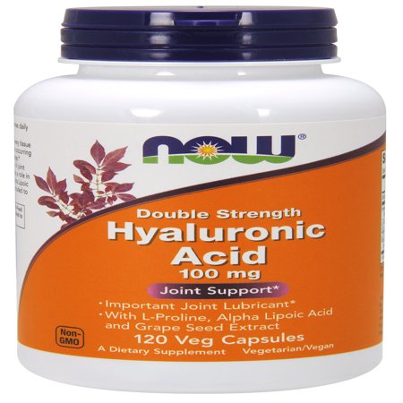 NOW Supplements, Hyaluronic Acid, Double Strength 100 mg, with L-Proline, Alpha Lipoic Acid and Grape Seed Extract, 120 Veg Capsules ()