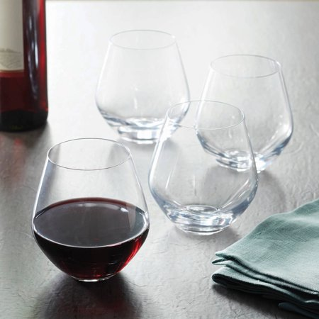 Red Wine Glass Sheer Rim (Better Homes & Gardens 17.5 Ounce Cielo Stemless Red Wine Glasses, 4 Count )