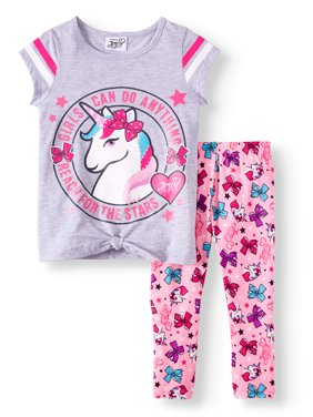 Unicorn Tie-Front Varsity Tee and Legging, 2-Piece Outfit Set (Little Girls)