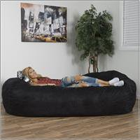 Noble House Logan Faux Suede 8-foot Lounger Bean Bag, Multiple Colors Black Vinyl Bean Bag