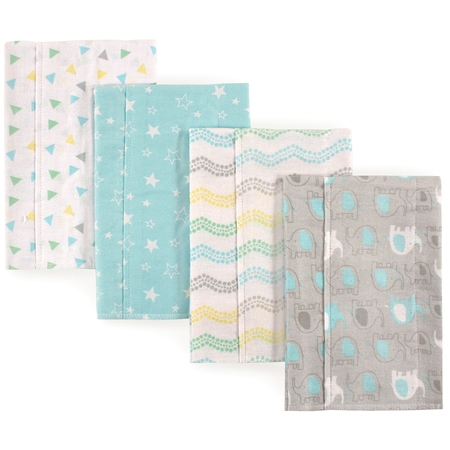 Carters Burp Cloth (Luvable Friends Basics Baby Boy and Girl Flannel Burp Cloth, 4-Pack - Elephant)