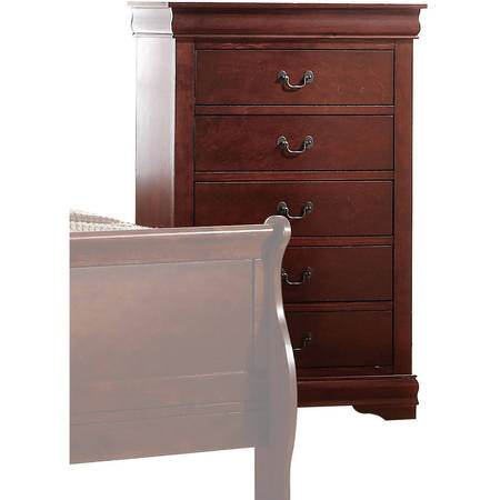 Cherry Blanket Chest (Acme Furniture Louis Philippe Chest with Five Drawers, Multiple Finishes)