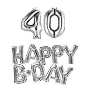 40th Birthday Party Balloons Supplies And Decorations In Silver