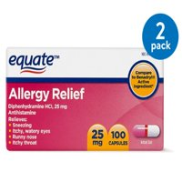 Equate Allergy Relief Diphenhydramine Antihistamine Capsules, 25 mg, 100 Ct