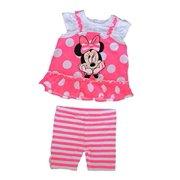 227bd7bc3f [P] Disney Infant Girls' Minnie Mouse Polka Dot T Shirt & Striped Bike