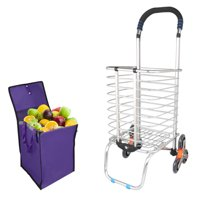 Unique Bargains Stair Climber Cart Rolling Folding Shopping Cart Swivel Wheel with bag