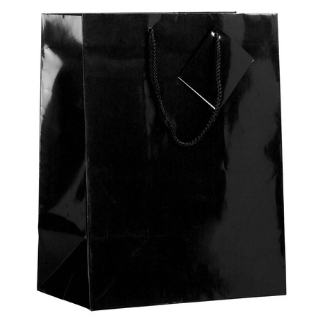 JAM PAPER Glossy Gift Bags with Rope Handles, Large, 10 x 13, Black, 3 Bags/Pack](Large Black Paper Doilies)