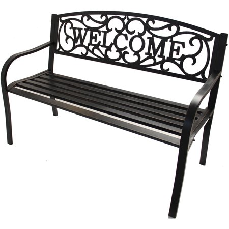 Better Homes & Gardens Welcome Outdoor Bench (Bench Garden Decor)