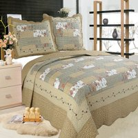 """All for You 3pc Reversible Quilt Set, Bedspread, or Coverlet with Patchwork Prints-5 different sizes-beige, pink, burgundy and gray green prints ( full/queen 86""""x 86"""" with standard pillow shams)"""