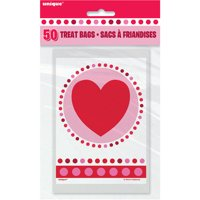 Radiant Hearts Valentine Treat Bags, 50-Count