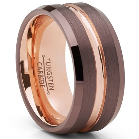 Men's Ring Wright Co. Chocolate Brown and Rose GoldTone Tungsten Carbide Wedding Band Ring (Cleveland Browns Ring)