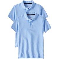 Boys School Uniform Short Sleeve Double Pique Polo, 2-Pack Value Bundle