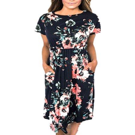 Summer Short Sleeve Floral Print Women Casual Knee-length Dress - Medieval White Dress