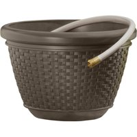 Suncast 100 ft. Resin Wicker Hose Pot, Java, HPW100