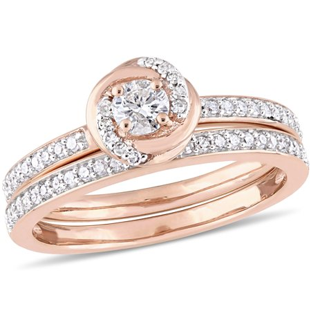 Miabella 1/2 Carat T.W. Diamond 10kt Rose Gold Swirl Bridal Set