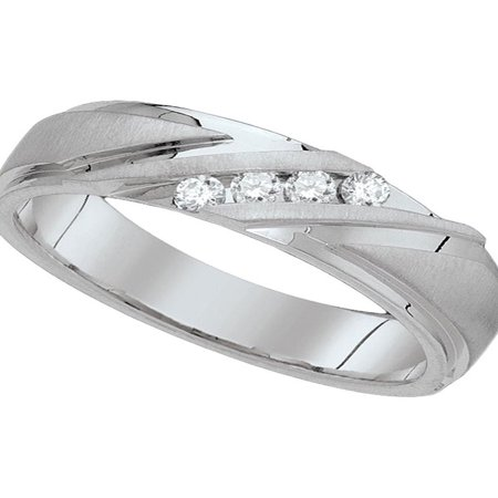 10k White Gold Mens Round Diamond Channel-set Wedding Anniversary Band Ring 1/6 Cttw Diamond Fine Jewelry Ideal Gifts For Mens Gift Set From Heart