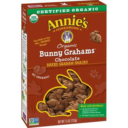 (2 Pack) Annie's Bunny Grahams, Chocolate, Graham Snacks, 7.5 oz Box