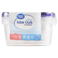 Great Value BPA Free Take Out Containers, Deep Dish, 3 Count