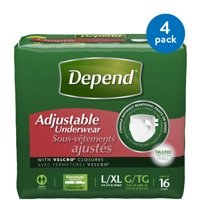 Depend Adjustable Underwear Maximum Absorbency, Large/Extra Large, 4 Packs of 16