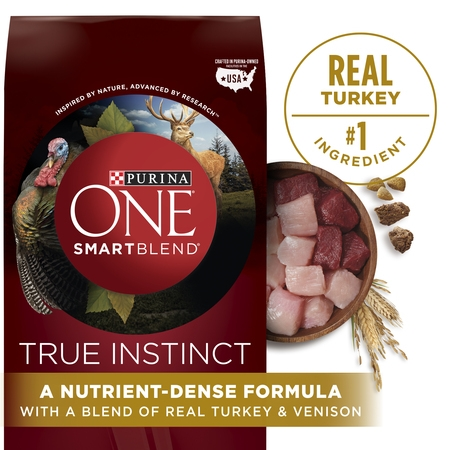 Purina ONE High Protein Natural Dry Dog Food; SmartBlend True Instinct With Real Turkey & Venison - 36 lb. (Best Dog Food For Chihuahua With Sensitive Stomach)