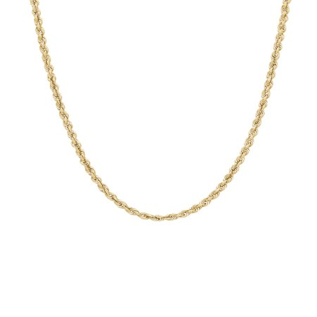 10K Yellow Gold 2.9mm Rope Chain Necklace, 22 10k Gold Rope Chain